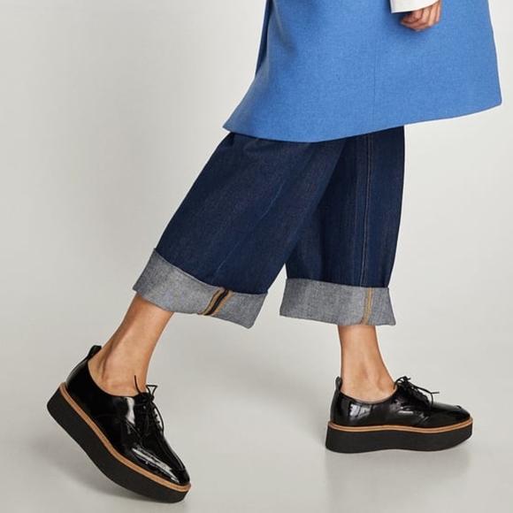 148d2844168 Zara Lace Up Faux Patent Crepe Platform Derby Shoe